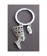 Queen Nefertiti Keychain, Nefertiti Charm Key Ring, bff best friends for... - $10.80