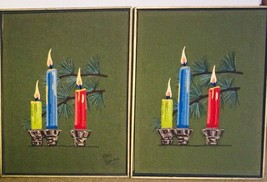 2 vintage crewel embroidery picture candles large holiday decor framed 2... - $80.42