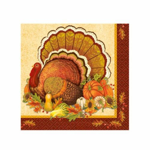 Give Thanks 16 Ct Beverage Napkins Turkey Thanksgiving
