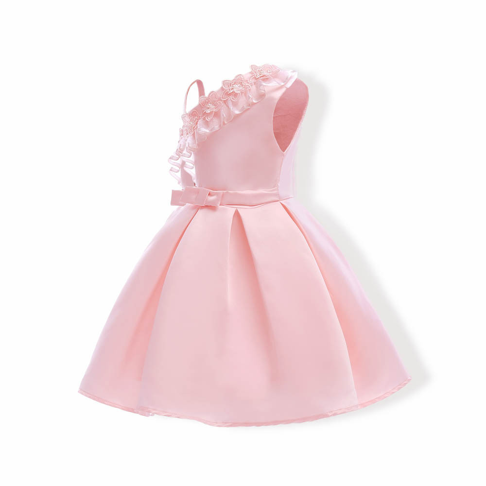 Sample One Shoulder Pink Satin Girls Party Gowns Sexy Mini Flower Girls Dresses image 6