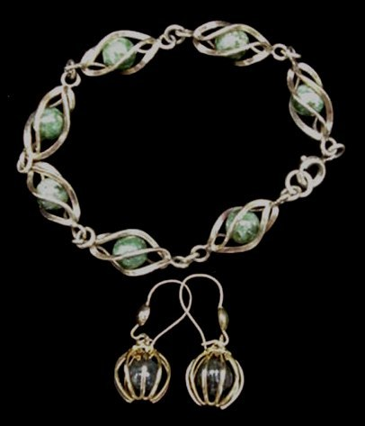 Old Gold Filled Cage Bracelet & Earrings Set Pottery Beads