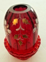 Fenton Fairy Lamp Amberina Ruby Glass Hand Painted & Signed by S. Smith - $54.99