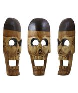 "12"" Hand Carved Wooden Skull Sculpture Home Decor - $19.99"