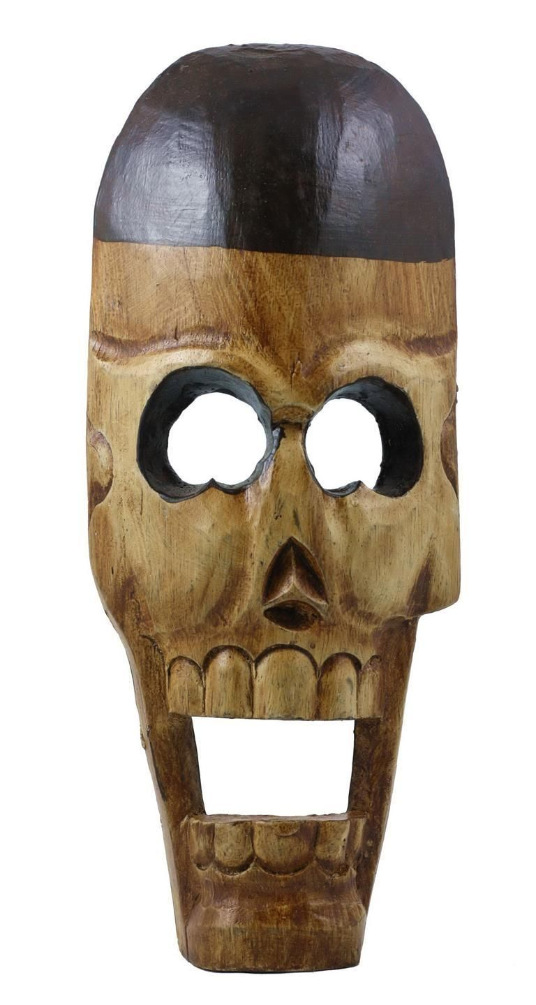 Quot hand carved wooden skull sculpture home decor figurines
