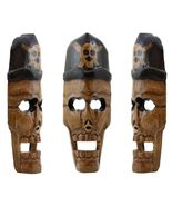"16"" Skull Pirate Mask Hand Carved Halloween Wall Decor - $13.99"
