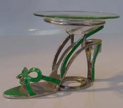 Green Bow Tie Sandle Pewter High Heel Shoe Tea Light - $21.50