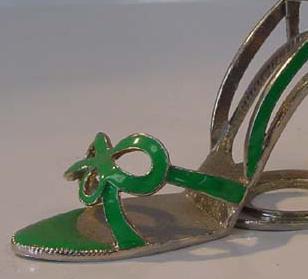 Green Bow Tie Sandle Pewter High Heel Shoe Tea Light