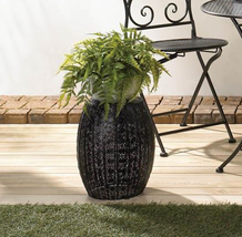 "BLACK MOROCCAN LACE Decorative Plant Stand or Low Side Table 14"" High - $38.00"