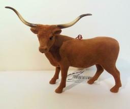 "Velvety Texas Longhorn Ornament 3.5"" Horns Unusual - $19.00"