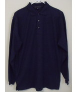 Mens NWOT Port Authority Navy Blue Long Sleeve Polo Shirt Size Medium - $16.95