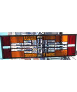 Stained Glass Window Panel Transom Sidelight Beveled Glass Red gold Amber - $149.00