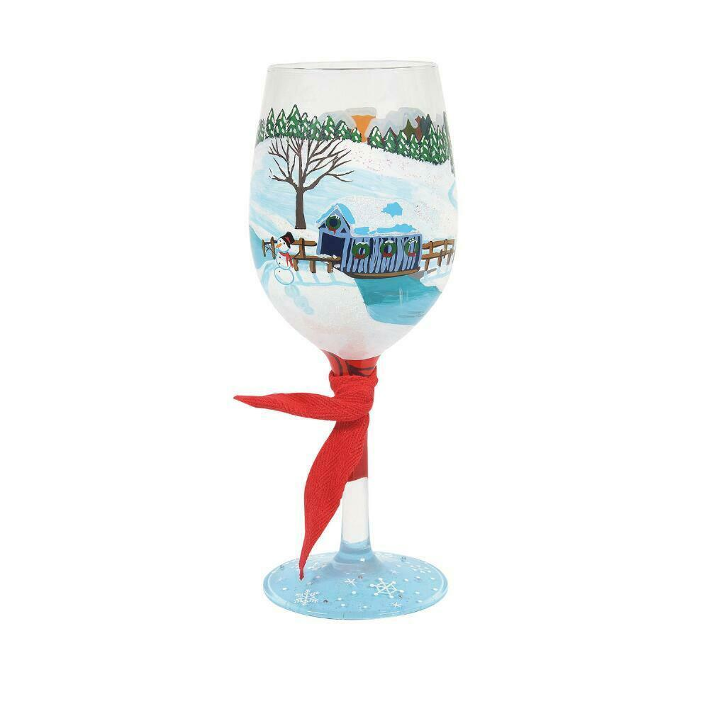 """Let It Snow """"Designs by Lolita"""" Wine Glass 15 o.z. 9"""" High  Gift Boxed"""