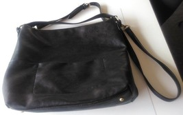 Merona black purse large with 2 straps real leather - $30.00
