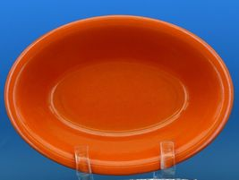 Vintage Franciscan El Patio Flame Orange / Uranium Red Oval Bowl 30s F Logo image 3