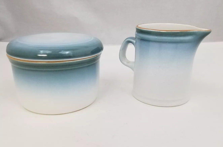 Nikko Gradiance Creamer and Sugar Bowl Azure Leafette Dishwasher Microwave Safe image 4