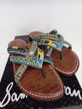 Women's Shoes Sam Edelman Karly Thong Leather Beads Turquoise Flip Flops Size 6 - $31.28