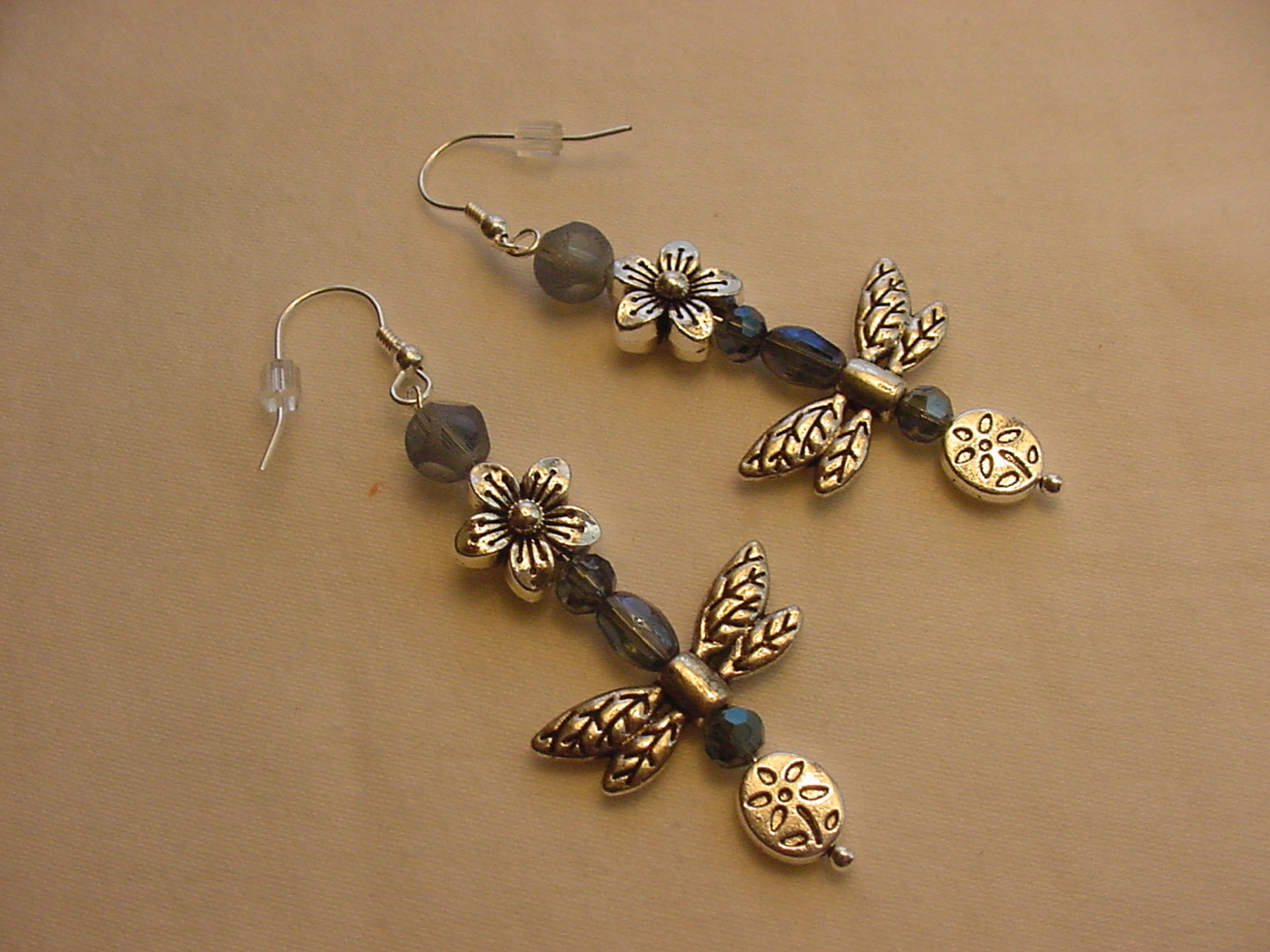 Unique Creations/Ozarks Blue Crystal Silver Flowers Dragonflies Drop Earrings