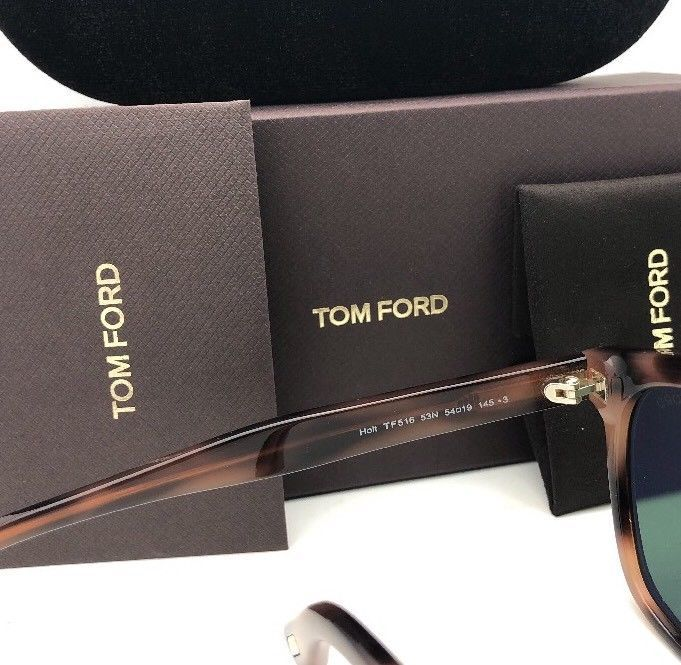 New TOM FORD Sunglasses HOLT TF 516 53N 54-19 145 Tortoise & Gold w/Green Lenses image 9