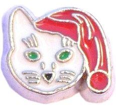 Christmas Cat Floating Locket Charm - $2.42