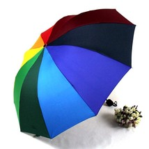 Big Umbrella Rainbow Umbrella Straight Three Folding Colorful Handle Sun... - $10.39
