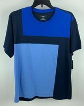 Alfani Men's Stretch T-Shirt Color Blocked Navy 100025693 - $13.99