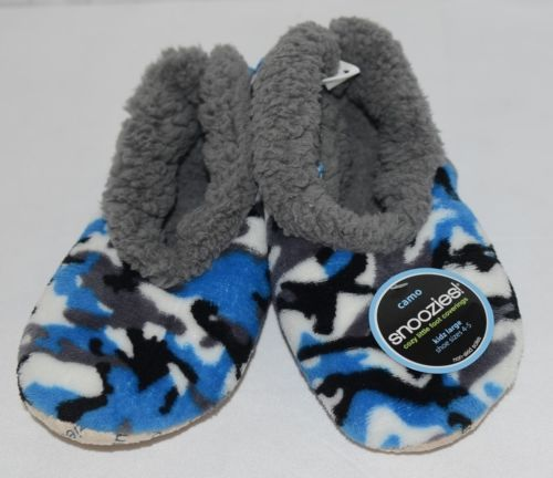 Snoozies KCM004 Foot Coverings Blue Gray Camo Size Kids 4 And 5