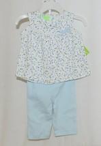 SnoPea Two Piece Flowered Sleeveless Shirt Light Blue Pants Size 9 months image 1