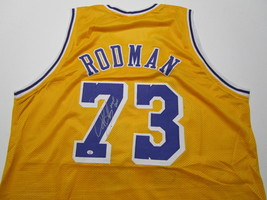 DENNIS RODMAN / NBA HALL OF FAME / AUTOGRAPHED L.A. LAKERS CUSTOM JERSEY / COA