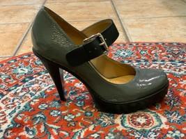 KORS MICHAEL KORS MARY JANE PLATFORM HEEL GREY PATENT BLACK LEATHER BUCK... - $58.50