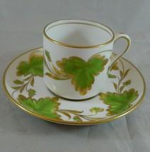Rare Vintage Grosvenor China Demitasse Cup & Saucer ROSSLYN GREEN Englan... - $78.35