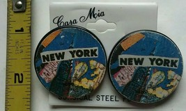 Vintage New York Tower Map Statement Button Pin Earrings 90s Funky Uniqu... - $23.36