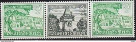 1939 Clock Tower and Goslar Strip of 3 Germany Stamps Catalog Mi W139 MNH