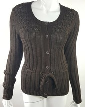 Ann Taylor Small Choco Brown Knit Button Up Cardigan Sweater Drawstring ... - $15.79