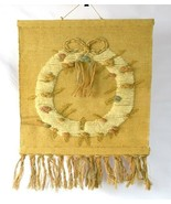Vintage 1988 Burlap Woven Friendship Ring Fringe Tapestry Wall Textile A... - $94.04
