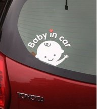 """Baby in car"" Car Decals Practical Car Decal Stickers WHITE (7.9""x6.7"")"