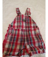 OshKosh B'Gosh vestback Boys 18 Months Red Plaid Cotton Short Overalls 18M - $14.01