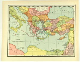 Vintage Biblical Map, Paul's Last Journeys, Colorful Rand McNally 1938 - $11.00