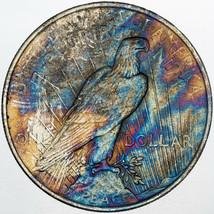 1922-P PEACE SILVER DOLLAR INTENSE NEON MONSTER COLOR BU NICE TONING UNC... - $197.99