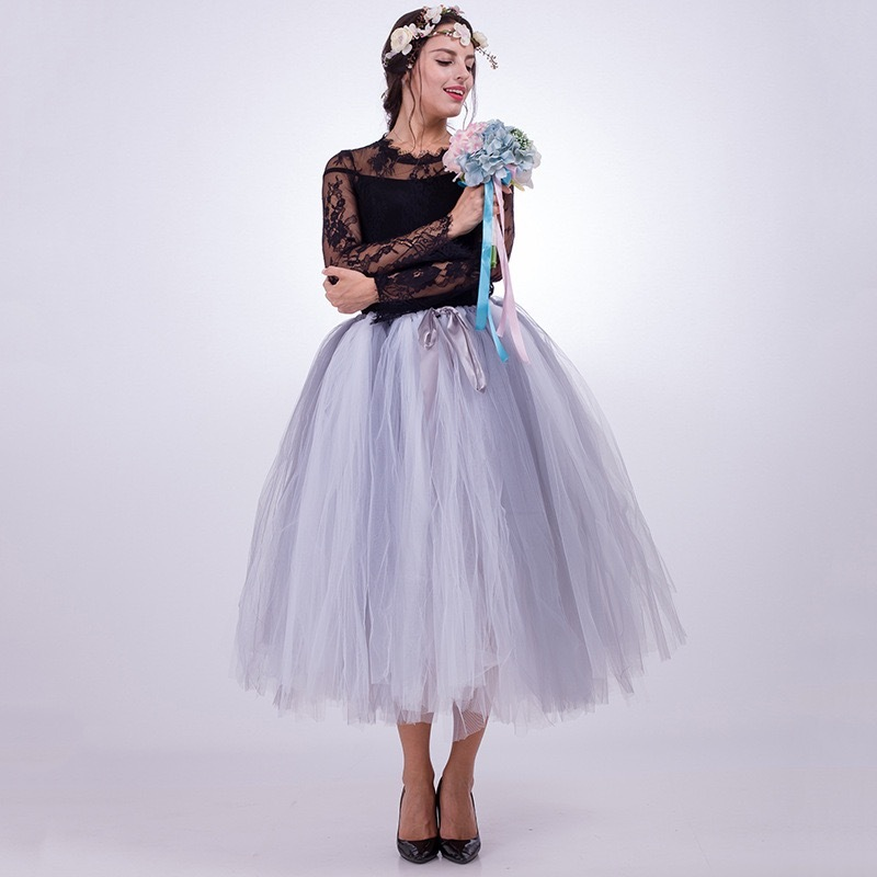 Women Puffy Tutu Skirt Drawstring High Waist Long Tulle Skirt Petticoat One Size