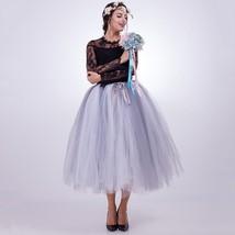 Women Puffy Tutu Skirt Drawstring High Waist Long Tulle Skirt Petticoat One Size