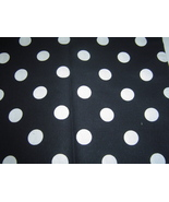 "Black Fabric Large White Dots Cotton 45"" New - $10.99"