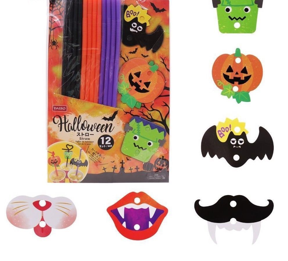 12pcs Cocktail Straws Halloween Pumpkin Bats Drinking Straw Bar Party Decoration