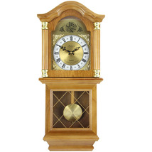 Bedford Clock Collection Classic 26 Golden Oak Chiming Wall Clock With S... - $67.71