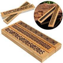 Bamboo Incense Burner Box Drawer Magnet Incense Lore Hollow Carving Cove... - $23.38