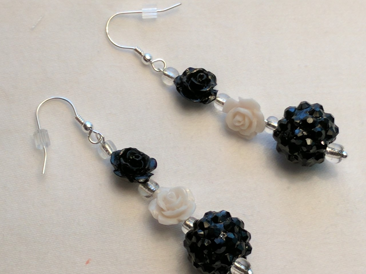 Primary image for Unique Creations Black White Roses and Blackberry Drop Earrings, Custom Made