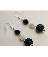 Unique Creations Black White Roses and Blackberry Drop Earrings, Custom ... - $18.00