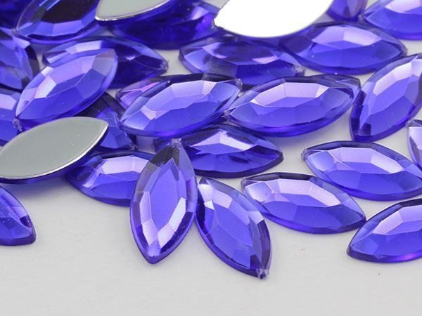 15x7mm Violet .VT Flat Back Navette Acrylic Gems High Quality - 40 PCS