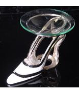 Black Stripe on White Pewter High Heel  Tea Light - $21.50