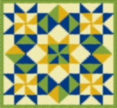 Latch Hook Rug Pattern Chart: Star Burst Pillow Top - EMAIL2u - $5.50