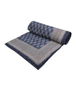 Home Furnishing Bedding Quilt Bedspread Indigo Leaf Buti Jaipuri Block P... - $47.00